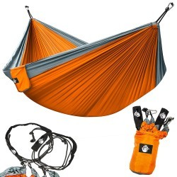 Hamac de camping gris /orange en nylon parachute Conditions Extrêmes - 2